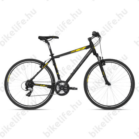 """Kellys Cliff 30 2018 cross kerékpár 24 fokozatú EF51/TX800 váltó, V-fék, Black/Yellow 17"""""""