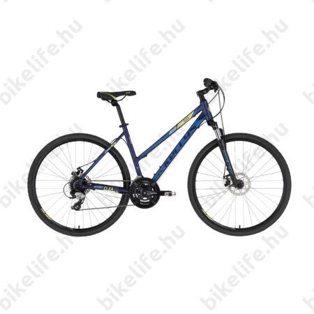 """Kellys Clea 70 Dark Blue női cross kerékpár 24 fokozatú TX800 váltó, mechanikus tárcsafék,19"""""""