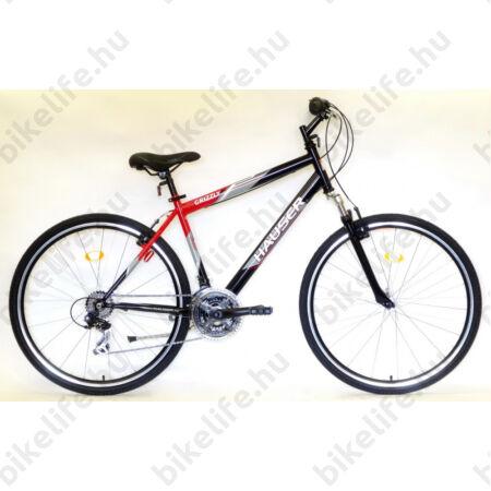 """Hauser Grizzly férfi cross kerékpár 21sebességes Shimano váltó, teleszkóp, fekete/piros 19"""""""