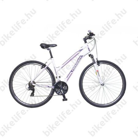 """Neuzer X100 női cross kerékpár 21sebességes Shimano váltó, fehér/bordó-mályva 17"""""""