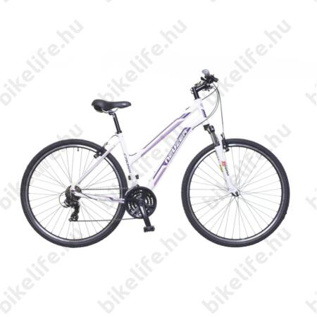 """Neuzer X100 női cross kerékpár 21sebességes Shimano váltó, fehér/bordó-mályva 19"""""""