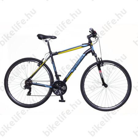 """Neuzer X100 férfi cross kerékpár 21sebességes Shimano váltó, fekete/kék-sárga 19"""""""