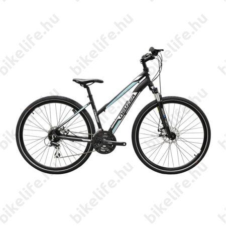 """Neuzer X200 Disc női cross kerékpár 24sebességes Shimano váltó, fekete/fehér-kék 17"""""""