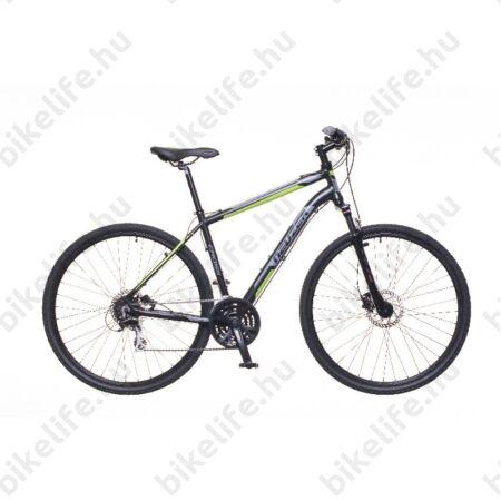 """Neuzer X300 Disc férfi cross kerékpár 24sebességes Shimano váltó, fekete/zöld-szürke 21"""""""