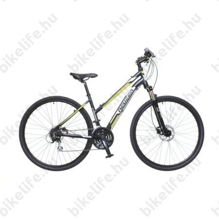 """Neuzer X300 Disc női cross kerékpár 24sebességes Shimano váltó, fekete/szürke-zöld 17"""""""