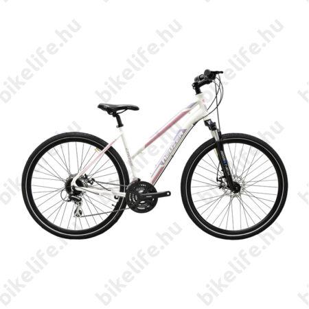 """Neuzer X200 Disc női cross kerékpár 24sebességes Shimano váltó, fehér/bordó-mályva 19"""""""