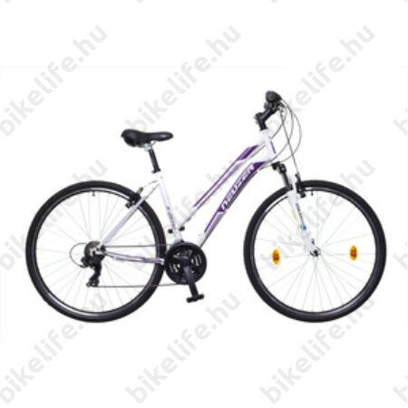 "Neuzer X-Series női cross kerékpár Shimano TY300, duplafalú abroncs, fehér/lila/mályva, 44cm/17"""