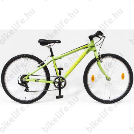 Csepel Woodlands Zero 24-es gyerek kerékpár alumínium vázzal, 6sebességes, matt zöld