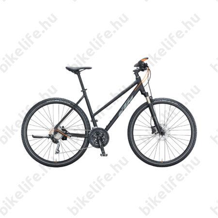 KTM Life Action női cross kerékpár 30 fokozatú Shimano XT váltó, mattfekete/titánszürke 46cm