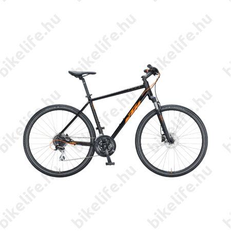 KTM Life Track férfi cross kerékpár 24 fokozatú Shimano Acera váltó, hidraulikus tárcsafék, fényes fekete/narancs 46cm