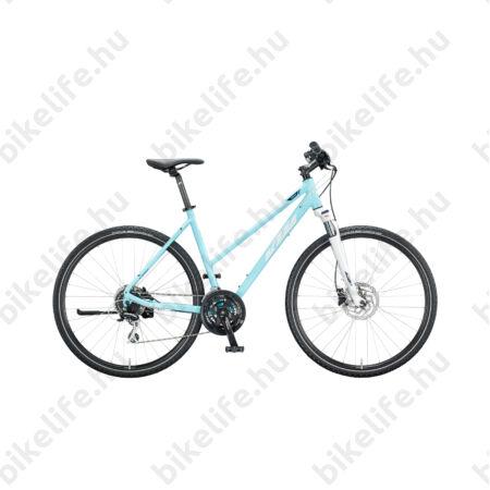 KTM Life Track női cross kerékpár 24 fokozatú Acera váltó, hidr. tárcsafék, aqua, 46cm
