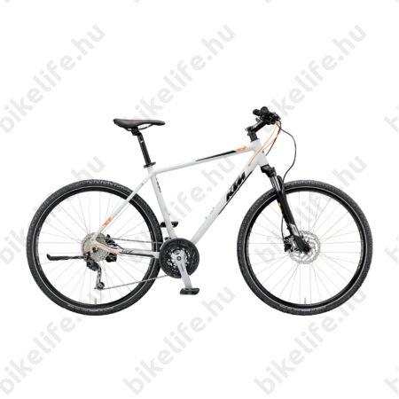 KTM Life Road férfi cross kerékpár 27 fokozatú Shimano Deore váltó, hidraulikus tárcsafék, mattszürke (fekete/narancs), 46cm