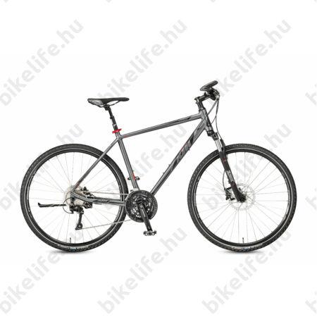 KTM Life Cross 2018 férfi cross kerékpár, 30 fokozatú LX váltó,hidr.tárcsafék, mattszürke-feke, 51cm