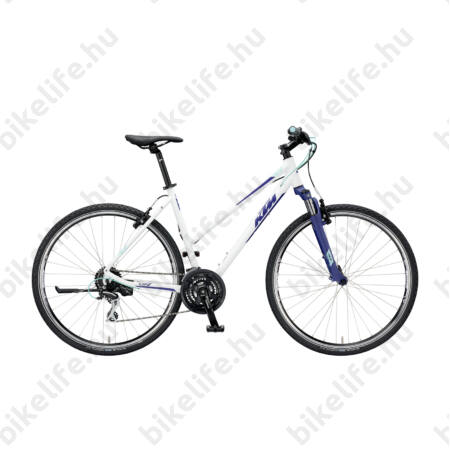 KTM Life One női cross kerékpár 24 fokozatú Shimano Acera váltó, V-fék, mattfehér (kék/zöld) 43cm