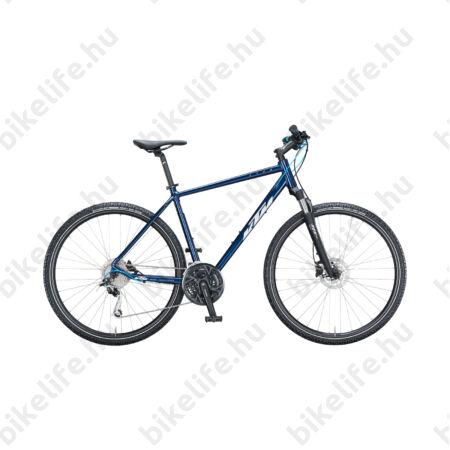 KTM Life Road férfi cross kerékpár 27 fokozatú Shimano Deore váltó, hidraulikus tárcsafék, mattfekete (szürke/kék), 56cm