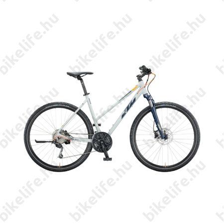 KTM Life Road női cross kerékpár 27 fokozatú Shimano Deore váltó, hidraulikus tárcsafék, mattszürke(kék/narancs) 51cm
