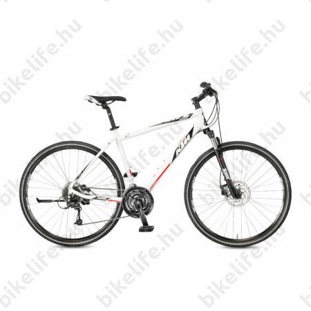 KTM Life Track 2017 férfi cross kerékpár 24fokozatú Deore váltó, tárcsafék, fényes fehér-fekete 51cm