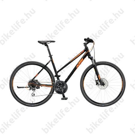 KTM Life Track női cross kerékpár 24 fokozatú Shimano Acera váltó, hidraulikus tárcsafék, mattfekete/narancs 46cm