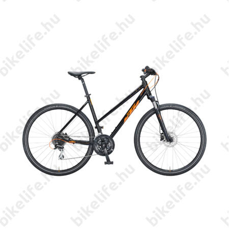 KTM Life Track női cross kerékpár 24 fokozatú Shimano Acera váltó, hidraulikus tárcsafék, fényes fekete/narancs 51cm
