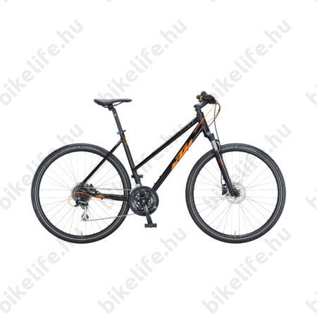KTM Life Track női cross kerékpár 24 fokozatú Shimano Acera váltó, hidraulikus tárcsafék, fényes fekete/narancs 46cm