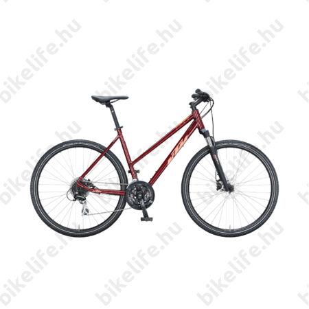 KTM Life Track női cross kerékpár 24 fokozatú Shimano Acera váltó, hidraulikus tárcsafék, piros/coral 46cm