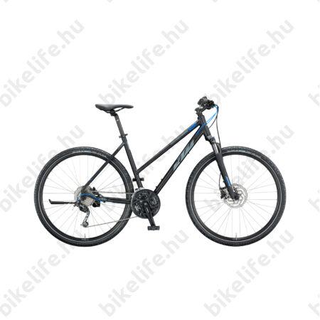 KTM Life Road női cross kerékpár 27 fokozatú Shimano Deore váltó, hidraulikus tárcsafék, mattfekete/szürke/kék 46cm