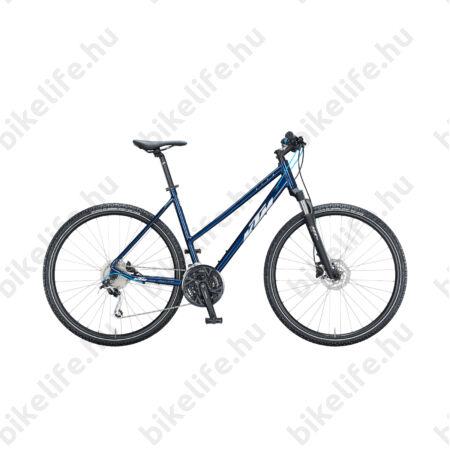 KTM Life Road női cross kerékpár 27 fokozatú Shimano Deore váltó, hidraulikus tárcsafék, mattfekete/szürke/kék 43cm