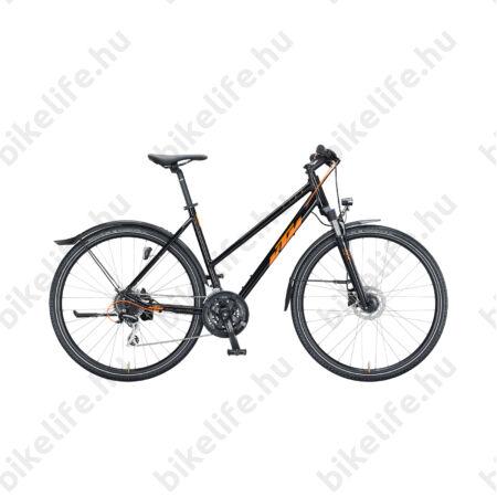 KTM Life Track Street női cross kerékpár 24 fokozatú Shimano Acera váltó, hidraulikus tárcsafék, mattfekete/narancs 46cm