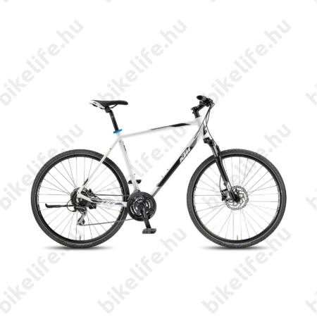 KTM Life Track 2018 férfi cross kerékpár 24 fokozatú Acera váltó, hidr. tárcsafék, fehér (fek/cián) 51cm