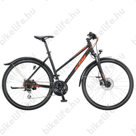 KTM Life Track Street női cross kerékpár 24 fokozatú Acera váltó, hidr. tárcsafék, matt fekete-narancs 51cm