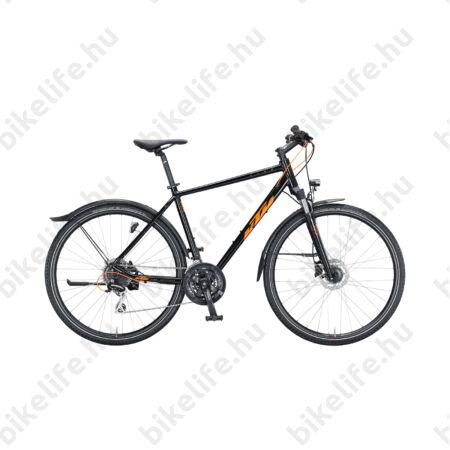 KTM Life Track Street férfi cross kerékpár 24 fokozatú Shimano Acera váltó, hidraulikus tárcsafék, fényes fekete/narancs 46cm