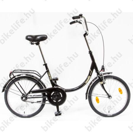 """Csepel Camping 20""""-os városi kerékpár hajlított merev vázzal, fekete, kontrás"""