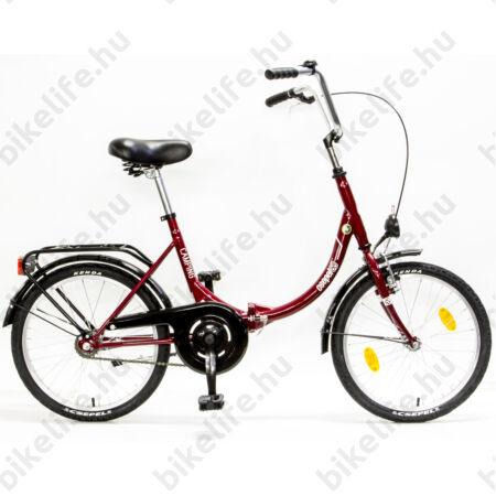 """Csepel Camping 20""""-os városi kerékpár, összecsukható, kontrás, bordó"""