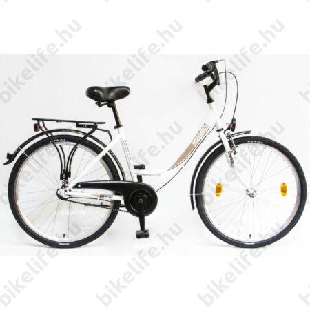 """Csepel Budapest A 26""""-os városi kerékpár, Nexus 3 sebességes agyváltó, fehér/arany"""