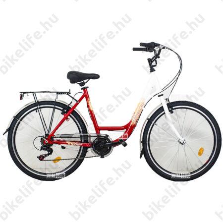 """Hauser Swan 26""""-os városi kerékpár aluvázas, 6sebességes, duplafalú abroncs, fehér/piros"""