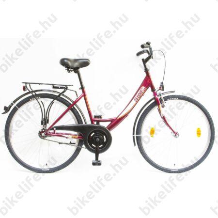 """Csepel Budapest A 26""""-os városi kerékpár kontrafékes, bordó"""