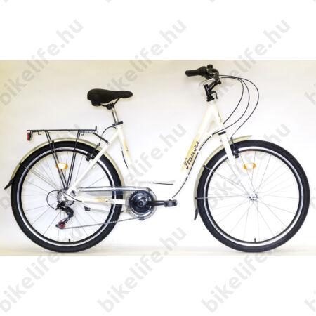 """Hauser Swan 26""""-os városi kerékpár aluvázas, 6sebességes, duplafalú abroncs, fehér"""
