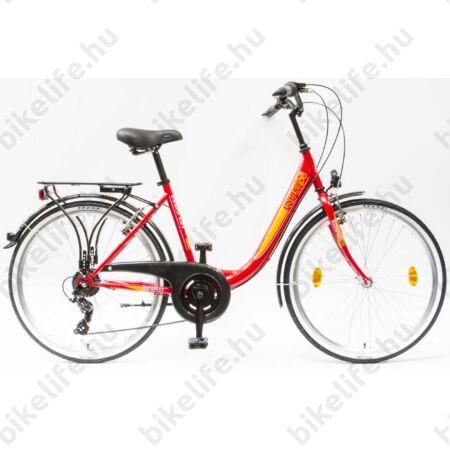 """Csepel Budapest B 26""""-os városi kerékpár 7sebességes, piros/sárga"""