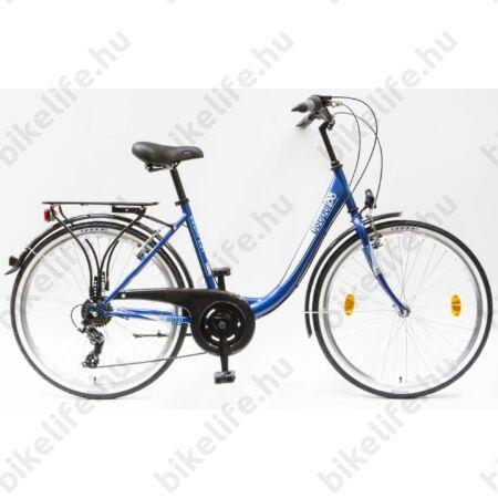 """Csepel Budapest B 26""""-os városi kerékpár 7sebességes, sötétkék/fehér"""