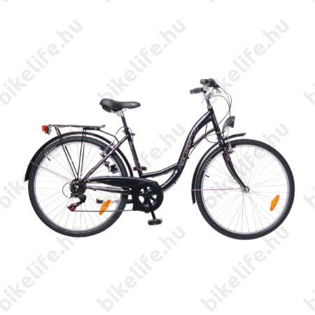 """Neuzer Venezia 26""""-os városi kerékpár 6 sebességes, fekete/pink, fekete fém sárvédőkkel"""