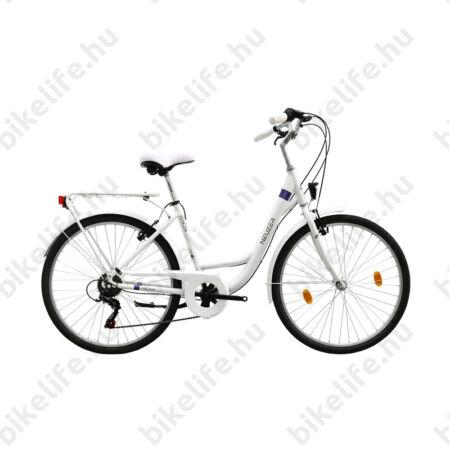 """Neuzer Venezia 26""""-os városi kerékpár 6 sebességes, fehér, fehér fém sárvédőkkel"""