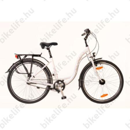 """Neuzer Padova 26""""-os városi kerékpár aluvázas 3 fokozatú agyváltós agydinamós fehér/pink"""