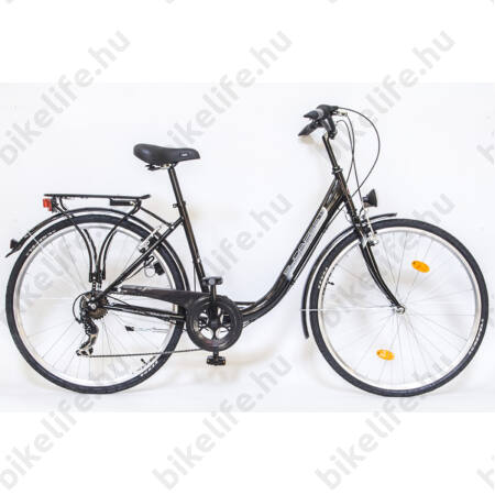 """Csepel Budapest B 28""""-os városi kerékpár 7sebességes láncváltós, fekete/szürke"""