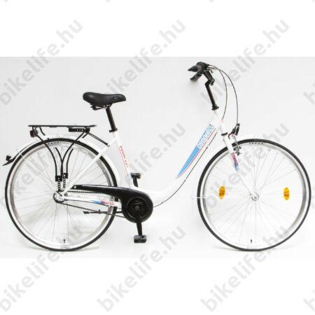 """Csepel Budapest B 28""""-os városi kerékpár 3 sebességes Nexus agyváltó, fehér/kék mintával"""