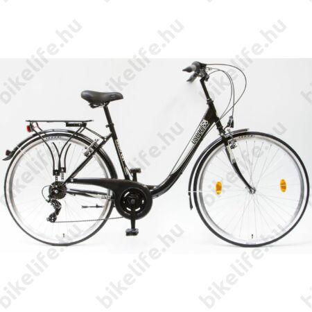 """Csepel Budapest B 28""""-os városi kerékpár 7sebességes láncváltós, fekete, fehér mintával"""