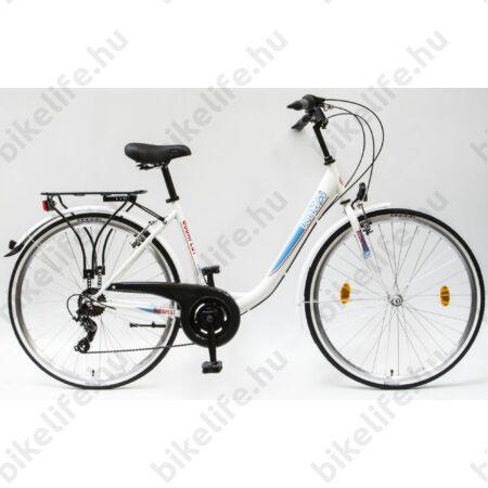 """Csepel Budapest B 28""""-os városi kerékpár 7sebességes láncváltós, fehér/kék"""