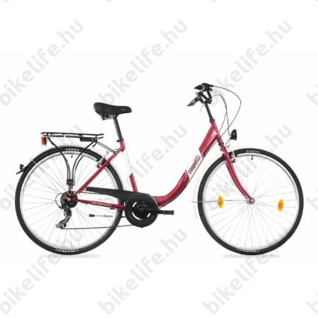 """Csepel Budapest B 28""""-os városi kerékpár 7sebességes láncváltós, piros/szürke"""