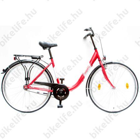 """Csepel Budapest B 28""""-os városi kerékpár kontrás, piros"""