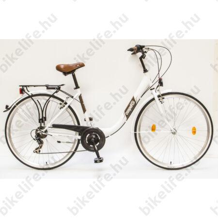 """Csepel Budapest B 28""""-os városi kerékpár 7 sebességes váltó, fehér/barna"""