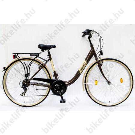 """Csepel Budapest B 28""""-os városi kerékpár 7 sebességes váltó, barna/sárga"""